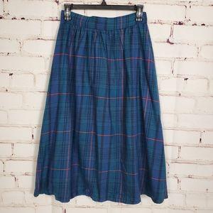 One by One Buffalo Plaid High Waist A-line skirt